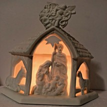 Partylite O Little Town P7312 Bisque Porcelain Nativity Use w/ Tealight ... - $44.55