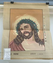 Jesus Christ w/crown of Thorns G. Reni vintage needlepoint Canvas Tapest... - $35.00