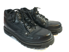 SKECHERS black leather old school oxford hiking low top boots 7.5 FREE SHIP - $42.52