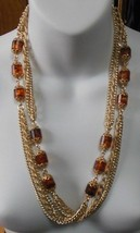 Sarah Coventry Super Long Gold Tone Bead Chain Necklace  - $19.79