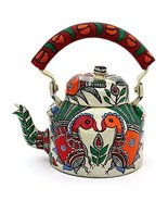Stainless Indian Traditional Hand Painted Steel Tea Kettle Tea Pot Peacock - $60.76
