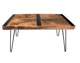 "Farmhouse Retro Coffee Table, 36"" x 20"" With Hairpin Legs & Metal Inlays - $345.00"