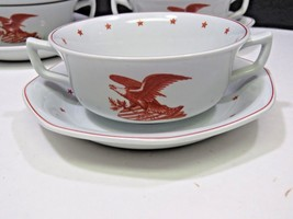4 Rare Wedgwood Red American Eagle Double Handled Cream Soup Bowls Cups ... - $61.38