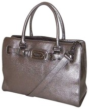 Michael Kors Hamilton Jewel Gunmetal Silver Leather Large Satchel Tote Bag *Nwt* - $238.00