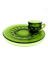 Vintage GREEN Indiana Glass King Crown Thumbprint PLATE AND CUP 2 pc. SET  - $10.40