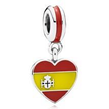 New Authentic Pandora Dangle Spain Heart Flag Bead Charm - $35.52