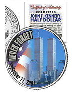 """WORLD TRADE CENTER """"NEVER FORGET"""" 9/11 COLORIZED JFK KENNEDY HALF DOLLAR... - $9.78"""