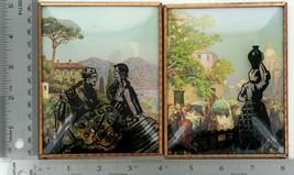 "Set of 2 Vintage 4 X 5"" Convex Glass Silhouettes Italian Volcano Scene 029"