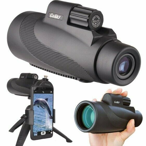 12X50 High Power Prism Monocular Scope, Smartphone Holder, & Handheld Tripod Kit