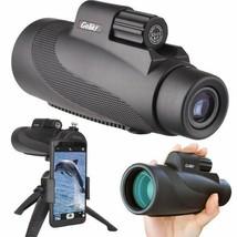 12X50 High Power Prism Monocular Scope, Smartphone Holder, & Handheld Tripod Kit image 1