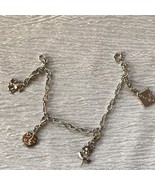 Estate Oval Silvertone Chain Link w Dog Moon & Stars Flower & Diary Char... - $13.99