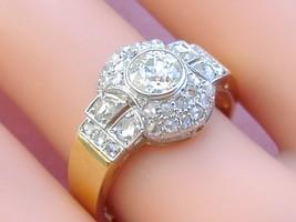ANTIQUE 1.15ctw EURO & ROSE DIAMOND 18K PLATINUM CLUSTER COCKTAIL RING 1... - $2,672.01