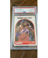 1989-90 HOOPS SIGNED AUTO CARD MOSES MALONE HAWKS 76ERS ABA HOF PSA DNA ... - $124.99