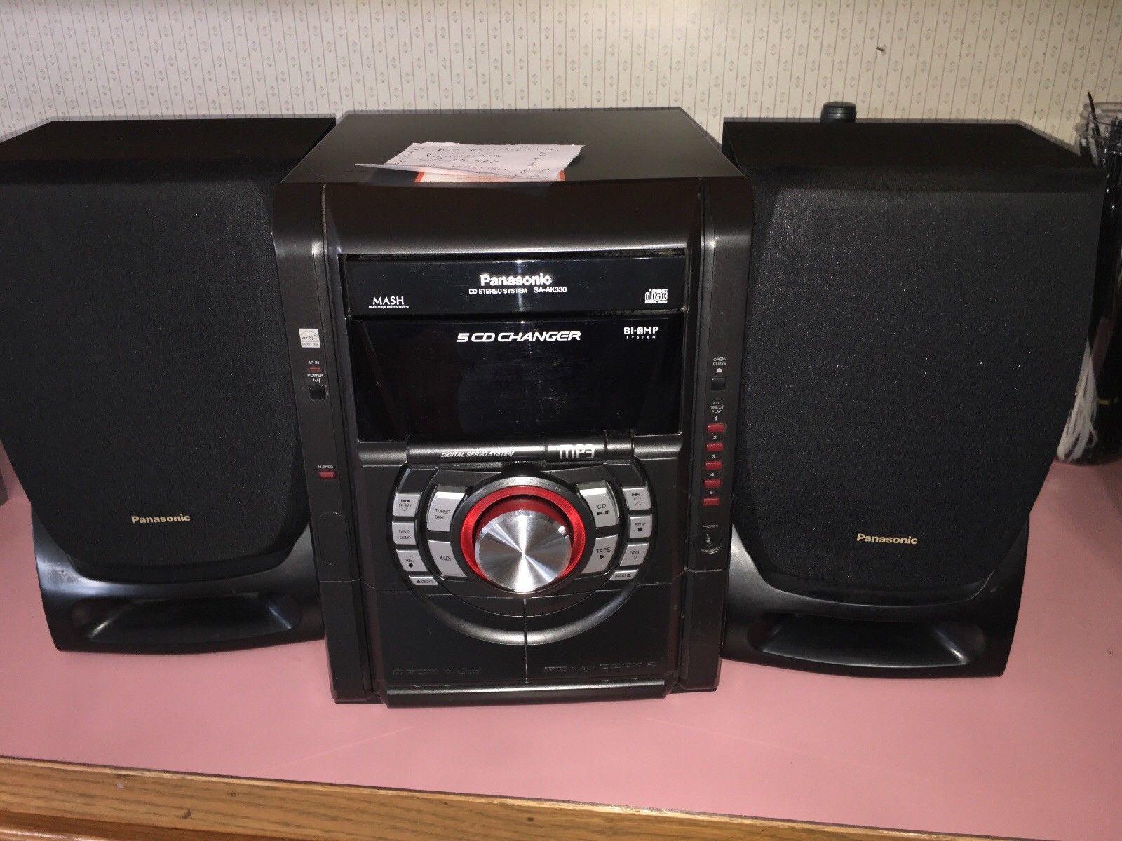 Panasonic Sa-ak330 5 Cd Bookshelf Stereo System Dual Cassette Am Fm With Speaker