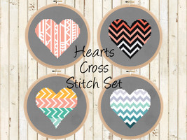 Modern Hearts Cross Stitch Patterns - Counted C... - $12.50