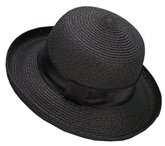 Lullaby Womens Foldable UPF 50+ Wide Brim Bucket Straw Sun Hat Black - $16.23