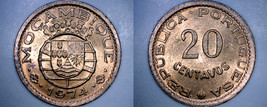 1974 Mozambique 20 Centavo World Coin - Portuguese Colonial - $4.99