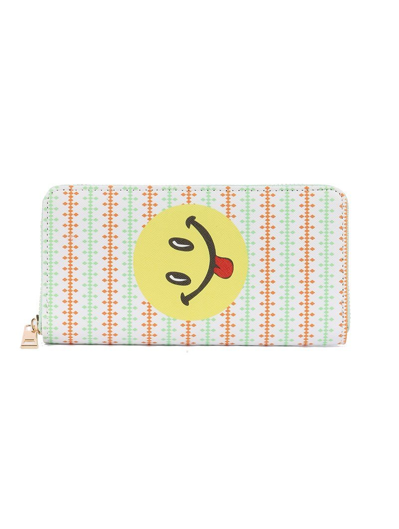 Smiley Face Tongue Emoji Print Zip Around Wallet Clutch Purse