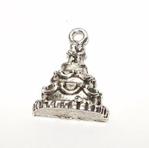 WEDDING CAKE FINE PEWTER PENDANT CHARM  12.5x17x4mm