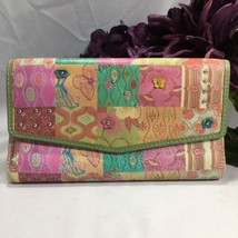 Fossil Leather Patchwork Floral Butterfly Studded Clutch Wallet Pastels - $32.75 CAD