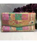 Fossil Leather Patchwork Floral Butterfly Studded Clutch Wallet Pastels - $24.72