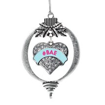 Inspired Silver #BAE Teal Candy Pave Heart Holiday Ornament - $14.69