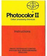 Photocolor II Colour Processing Chemicals Instructions 1977 Photo Tech L... - $19.79