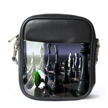 Sling Bag Leather Shoulder Bag Nature Chess In Elegant Black White Design Animat - $14.00