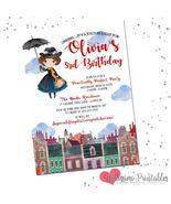 Mary Poppins Birthday Inspired Invitation Mary Poppins Birthday Invite A... - $0.99