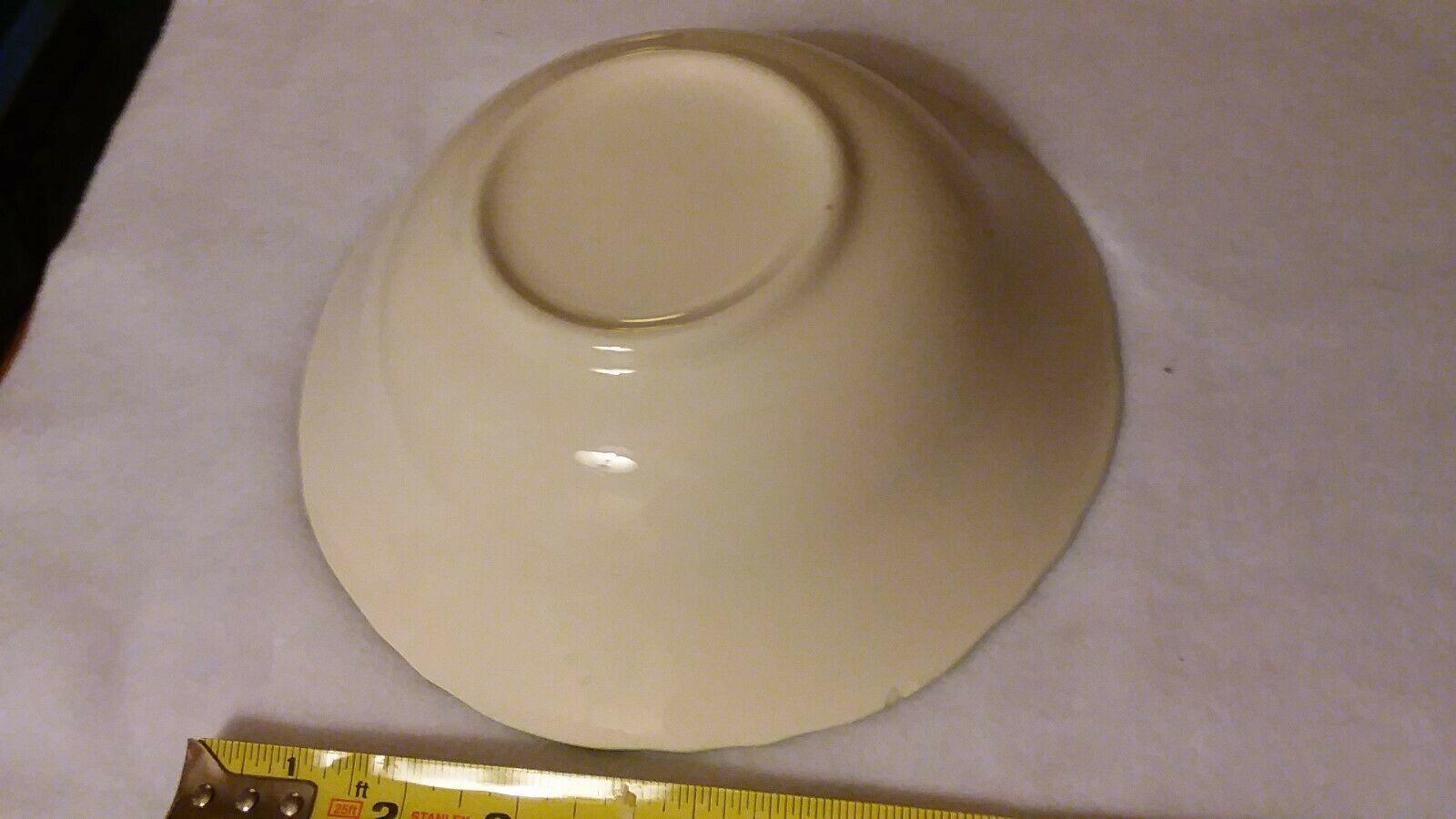 "retro 50's era 8"" Vegetable round bowl -delicate green asparagus pattern"