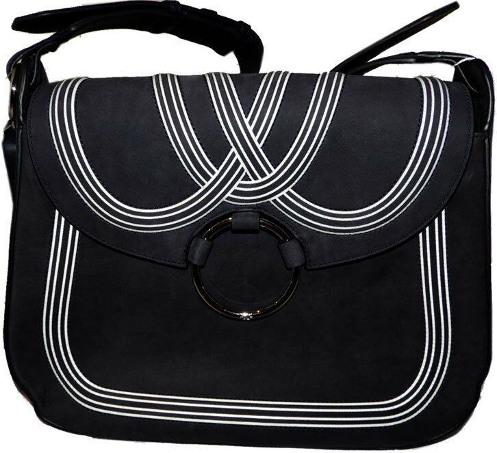Tory Burch Blue Tassel Large Shoulder Bag Purse Satchel