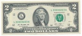 2013 $2 TWO DOLLAR FEDERAL RESERVE NOTE-SERIAL 33333223! CRISP UNC! SHIP... - $49.95