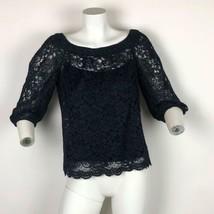 DVF Diane von Furstenberg Top Lace Blouse 3/4 Sleeve Navy Blue Insert Wo... - $44.99