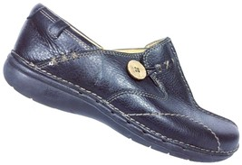 Clarks Unstructured Women's Black Leather Button Split Toe Loafer Shoes ... - $28.50