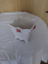 Vintage Bloom Rite White Planter Porcelain Pink Roses image 4