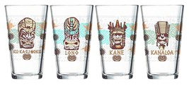 4 Luminarc TROPICAL TIKIS  Flare 16 Oz Pint Glass Tumblers 4 Designs NIB... - $27.99