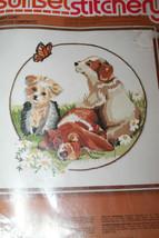 "Sunset Stitchery Puppy Love 16""x 16"" #2397CN Embroidery Craft Kit Gerrish - $27.21"