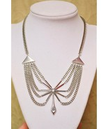 Vintage multistrand swag choker necklace 1970s fierce disco chains sexy  - $26.72