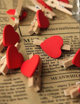 30pcs Red Heart for Wedding Party Decoration Favor,Wood Clip,Mini Pin Cl... - $3.50
