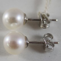 SOLID 18K WHITE OR YELLOW GOLD EARRINGS WITH PEARL PEARLS 8.5 MM, MADE IN ITALY image 2