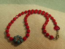 """Vintage High Quality Faceted Red Glass Beads Enamel Flower 15 1/2"""" Choker - $17.82"""