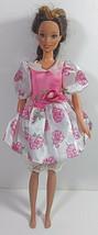 Vintage Barbie Doll Clothing Dress Mattel Pink White Floral Attached Pan... - $7.99