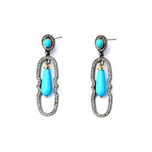 The Cats Pajama Lulu Turquoise Pave Statement Earrings - $45.00