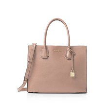 NWT MICHAEL KORS MERCER LARGE LEATHER CONVERTIBLE TOTE FAWN - $202.09