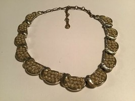 Vintage Coro Gold Tone Textured Link Choker Necklace - $19.75