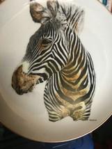 "Handsome Zebra Collector Plate Born Free ENESCO 1975 8.25"" Diameter - $11.88"