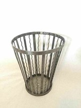 Industrial Art Metal Waste Basket Planter Steel Trash Can - $39.59