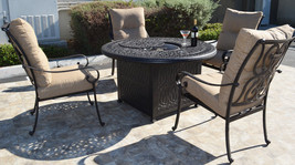 5 piece round fire pit patio set cast aluminum furniture Sunbrella cushions image 2