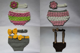 New Knit Crochet Newborn Baby Flower Nappy Cover & Headband Sitter Set 0... - $7.99