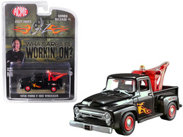 """1956 Ford F-100 Wrecker Tow Truck Black with Flames (Stacey David\'s \""""G... - $15.58"""